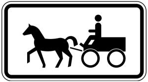 Verkehrszeichen 1010-64 StVO, Gespannfuhrwerke (Maße/Folie/Form:  <b>231x420mm</b>/RA1/Flachform 2mm (Art.Nr.: 1010-64-111))