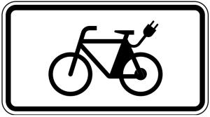 Verkehrszeichen 1010-65 StVO, E-Bikes (Maße/Folie/Form:  <b>231x420mm</b>/RA1/Flachform 2mm (Art.Nr.: 1010-65-111))