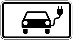 Verkehrszeichen 1010-66 StVO, Elektrisch betriebene Fahrzeuge (Maße/Folie/Form:  <b>231x420mm</b>/RA1/Flachform 2mm (Art.Nr.: 1010-66-111))