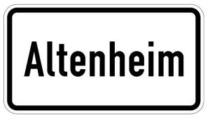 Verkehrszeichen 1012-52 StVO, Altenheim (Maße/Folie/Form:  <b>231x420mm</b>/RA1/Flachform 2mm (Art.Nr.: 1012-52-111))