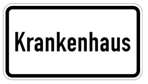 Verkehrszeichen 1012-53 StVO, Krankenhaus (Maße/Folie/Form:  <b>231x420mm</b>/RA1/Flachform 2mm (Art.Nr.: 1012-53-111))