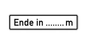 Verkehrszeichen 1013-52 StVO, Ende in... (Folie/Form: RA1/Flachform 3mm (Art.Nr.: 1013-52-113))