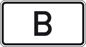 Verkehrszeichen 1014-50 StVO, Tunnelkategorie   B   gemäß ADR-Übereinkommen (Maße/Folie/Form:  <b>231x420mm</b>/RA1/Flachform 2mm (Art.Nr.: 1014-50-111))