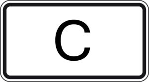 Verkehrszeichen 1014-51 StVO, Tunnelkategorie   C   gemäß ADR-Übereinkommen (Maße/Folie/Form:  <b>231x420mm</b>/RA1/Flachform 2mm (Art.Nr.: 1014-51-111))