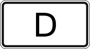 Verkehrszeichen 1014-52 StVO, Tunnelkategorie   D   gemäß ADR-Übereinkommen (Maße/Folie/Form:  <b>231x420mm</b>/RA1/Flachform 2mm (Art.Nr.: 1014-52-111))