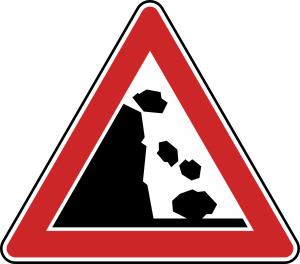 Verkehrszeichen 101-25 StVO, Steinschlag, Aufstellung links (Seitenlänge/Folie/Form:  <b>630mm</b>/RA1/Flachform 2mm (Art.Nr.: 101-25-111))