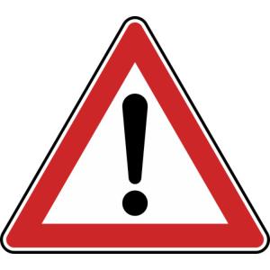 Verkehrszeichen 101 StVO, Gefahrstelle (Seitenlänge/Folie/Form:  <b>630 mm</b> / RA1 / Flachform 2 mm (Art.Nr.: 101-111))