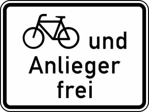 Verkehrszeichen 1020-12 StVO, Radverkehr und Anlieger frei (Maße/Folie/Form:  <b>315x420mm</b>/RA1/Flachform 2mm (Art.Nr.: 1020-12-111))