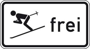 Verkehrszeichen 1020-14 StVO, Wintersport frei (Maße/Folie/Form:  <b>231x420mm</b>/RA1/Flachform 2mm (Art.Nr.: 1020-14-111))
