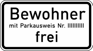 Verkehrszeichen 1020-32 StVO, Bewohner mit Parkausweis Nr. ... frei (Maße/Folie/Form:  <b>231x420mm</b>/RA1/Flachform 2mm (Art.Nr.: 1020-32-111))