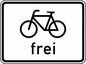 Verkehrszeichen 1022-10 StVO, Radverkehr frei (Maße/Folie/Form:  <b>315x420mm</b>/RA1/Flachform 2mm (Art.Nr.: 1022-10-111))
