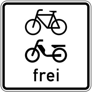 Verkehrszeichen 1022-14 StVO, Radverkehr und Mofas frei (Maße/Folie/Form:  <b>420x420mm</b>/RA1/Flachform 2mm (Art.Nr.: 1022-14-111))