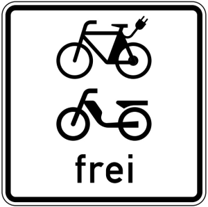Verkehrszeichen 1022-15 StVO, E-Bikes und Mofas frei (Maße/Folie/Form:  <b>420x420mm</b>/RA1/Flachform 2mm (Art.Nr.: 1022-15-111))
