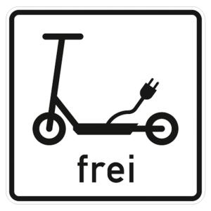 Verkehrszeichen 1022-16 StVO, Elektrokleinstfahrzeuge frei (Maße/Folie/Form:  <b>420 x 420 mm</b> / RA1 / Flachform 2 mm (Art.Nr.: 1022-16-111))