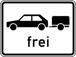 Verkehrszeichen 1024-11 StVO, Personenkraftwagen mit Anhänger frei (Maße/Folie/Form:  <b>315x420mm</b>/RA1/Flachform 2mm (Art.Nr.: 1024-11-111))