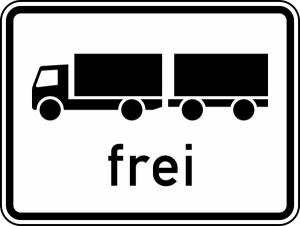 Verkehrszeichen 1024-13 StVO, Lastkraftwagen mit Anhänger frei (Maße/Folie/Form:  <b>315x420mm</b>/RA1/Flachform 2mm (Art.Nr.: 1024-13-111))