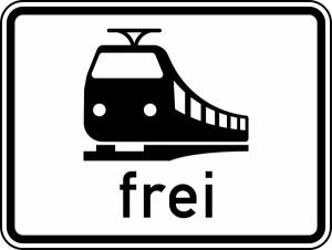 Verkehrszeichen 1024-15 StVO, Schienenbahnen frei (Maße/Folie/Form:  <b>315x420mm</b>/RA1/Flachform 2mm (Art.Nr.: 1024-15-111))