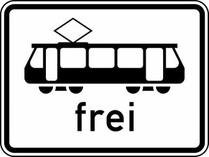 Verkehrszeichen 1024-16 StVO, Straßenbahnen frei (Maße/Folie/Form:  <b>315x420mm</b>/RA1/Flachform 2mm (Art.Nr.: 1024-16-111))