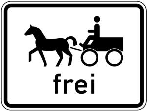Verkehrszeichen 1024-18 StVO, Gespannfuhrwerke frei (Maße/Folie/Form:  <b>315x420mm</b>/RA1/Flachform 2mm (Art.Nr.: 1024-18-111))