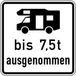 Verkehrszeichen 1024-19 StVO, Wohnmobile mit einer zulässigen Gesamtmasse bis 7,5 t... (Maße/Folie/Form:  <b>420x420mm</b>/RA1/Flachform 2mm (Art.Nr.: 1024-19-111))