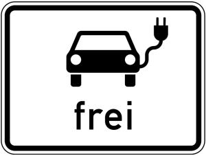 Verkehrszeichen 1024-20 StVO, Elektrisch betriebene Fahrzeuge frei (Maße/Folie/Form:  <b>315x420mm</b>/RA1/Flachform 2mm (Art.Nr.: 1024-20-111))
