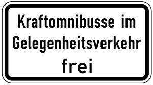 Verkehrszeichen 1026-31 StVO, Kraftomnibusse im Gelegenheitsverkehr frei (Maße/Folie/Form:  <b>231x420mm</b>/RA1/Flachform 2mm (Art.Nr.: 1026-31-111))