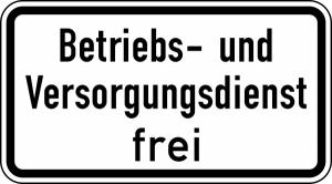 Verkehrszeichen 1026-39 StVO, Betriebs- und Versorgungsdienst frei (Maße/Folie/Form:  <b>231x420mm</b>/RA1/Flachform 2mm (Art.Nr.: 1026-39-111))