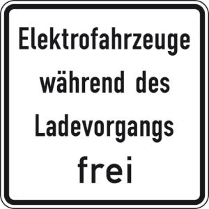 Verkehrszeichen 1026-60 StVO, Elektrofahrzeuge während des Ladevorgangs frei (Maße/Folie/Form:  <b>420x420mm</b>/RA1/Flachform 2mm (Art.Nr.: 1026-60-111))