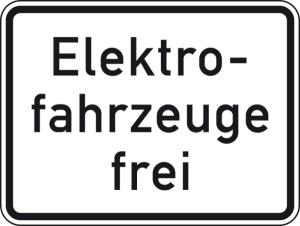 Verkehrszeichen 1026-61 StVO, Elektrofahrzeuge frei (Maße/Folie/Form:  <b>315x420mm</b>/RA1/Flachform 2mm (Art.Nr.: 1026-61-111))