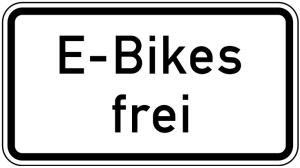 Verkehrszeichen 1026-63 StVO, E-Bikes frei (Maße/Folie/Form:  <b>231x420mm</b>/RA1/Flachform 2mm (Art.Nr.: 1026-63-111))