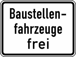 Verkehrszeichen 1028-30 StVO, Baustellenfahrzeuge frei (Maße/Folie/Form:  <b>315x420mm</b>/RA1/Flachform 2mm (Art.Nr.: 1028-30-111))