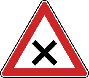 Verkehrszeichen 102 StVO, Kreuzung oder Einmündung (Seitenlänge/Folie/Form:  <b>630 mm</b> / RA1 / Flachform 2 mm (Art.Nr.: 102-111))