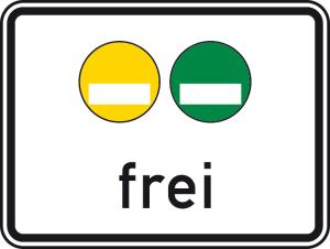 Verkehrszeichen 1031-51 StVO, Freistellung vom Verkehrsverbot nach § 40 Abs. 1 des Bundes-Immissionsschutzgesetzes. Gelbe und grüne Plakette frei (Maße/Folie/Form:  <b>450x600mm</b>/RA1/Flachform 2mm (Art.Nr.: 1031-51-111))