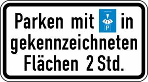 Verkehrszeichen 1040-33 StVO, Parken mit Parkscheibe in gekennzeichneten Flächen (Maße/Folie/Form:  <b>231x420mm</b>/RA1/Flachform 2mm (Art.Nr.: 1040-33-111))