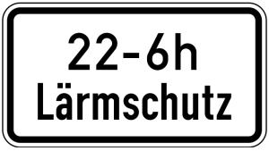 Verkehrszeichen 1040-35 StVO, Lärmschutz (mit Zeitangabe) (Maße/Folie/Form:  <b>231x420mm</b>/RA1/Flachform 2mm (Art.Nr.: 1040-35-111))