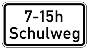 Verkehrszeichen 1040-36 StVO, Schulweg i.V.m. zeitlicher Begrenzung (zu Z 101 oder 274) (Maße/Folie/Form:  <b>231x420mm</b>/RA1/Flachform 2mm (Art.Nr.: 1040-36-111))