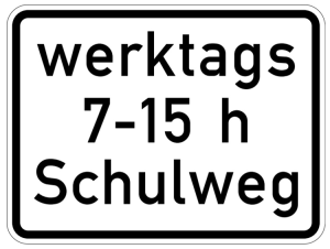 Verkehrszeichen 1042-53 StVO, Schulweg i.V.m. zeitlicher Begrenzung an Werktagen (Maße/Folie/Form:  <b>315x420mm</b>/RA1/Flachform 2mm (Art.Nr.: 1042-53-111))