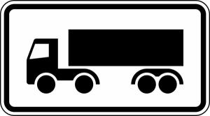 Verkehrszeichen 1048-14 StVO, Nur Sattelkraftfahrzeuge (Maße/Folie/Form:  <b>231x420mm</b>/RA1/Flachform 2mm (Art.Nr.: 1048-14-111))