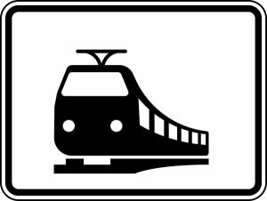 Verkehrszeichen 1048-18 StVO, Nur Schienenbahnen (Maße/Folie/Form:  <b>315x420mm</b>/RA1/Flachform 2mm (Art.Nr.: 1048-18-111))