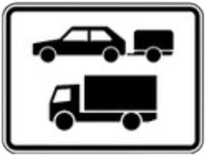 Verkehrszeichen 1048-20 StVO, Nur Pkw mit Anhänger und Kfz über 3,5t (Maße/Folie/Form:  <b>315x420mm</b>/RA1/Flachform 2mm (Art.Nr.: 1048-20-111))