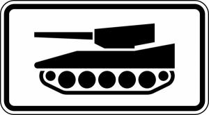 Verkehrszeichen 1049-12 StVO, Nur militärische Kettenfahrzeuge (Maße/Folie/Form:  <b>231x420mm</b>/RA1/Flachform 2mm (Art.Nr.: 1049-12-111))