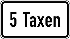 Verkehrszeichen 1050-31 StVO, ... Taxen (Maße/Folie/Form:  <b>231x420mm</b>/RA1/Flachform 2mm (Art.Nr.: 1050-31-111))