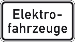 Verkehrszeichen 1050-33 StVO, Elektrofahrzeuge (Maße/Folie/Form:  <b>231x420mm</b>/RA1/Flachform 2mm (Art.Nr.: 1050-33-111))