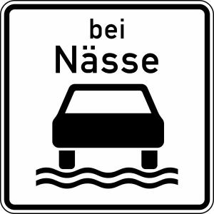 Verkehrszeichen 1053-35 StVO, Bei Nässe (Maße/Folie/Form:  <b>420x420mm</b>/RA1/Flachform 2mm (Art.Nr.: 1053-35-111))