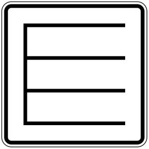 Verkehrszeichen 1053-38 StVO, Querparken als Sinnbild (Maße/Folie/Form:  <b>420x420mm</b>/RA1/Flachform 2mm (Art.Nr.: 1053-38-111))