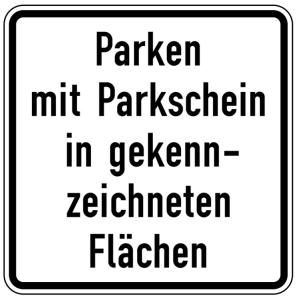 Verkehrszeichen 1053-53 StVO, Parken mit Parkschein in gekennzeichneten Flächen (Maße/Folie/Form:  <b>420x420mm</b>/RA1/Flachform 2mm (Art.Nr.: 1053-53-111))