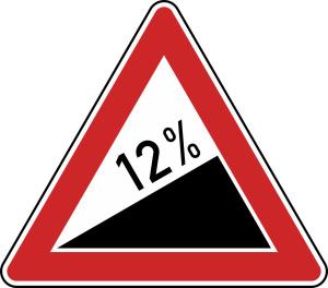 Verkehrszeichen 110 StVO, Steigung