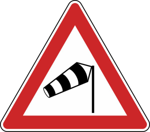 Verkehrszeichen 117-10 StVO, Seitenwind von rechts (Seitenlänge/Folie/Form:  <b>630mm</b>/RA1/Flachform 2mm (Art.Nr.: 117-10-111))