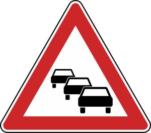 Verkehrszeichen 124 StVO, Stau (Seitenlänge/Folie/Form:  <b>630mm</b>/RA1/Flachform 2mm (Art.Nr.: 124-111))
