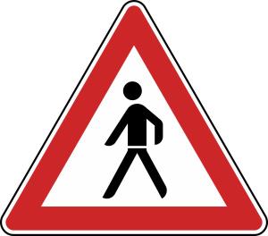 Verkehrszeichen 133-10 StVO, Fußgänger (Aufstellung rechts) (Seitenlänge/Folie/Form:  <b>630 mm</b> / RA1 / Flachform 2 mm (Art.Nr.: 133-10-111))